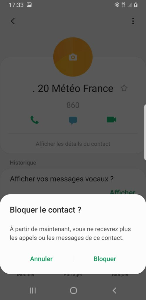 bloquer contact téléphone android
