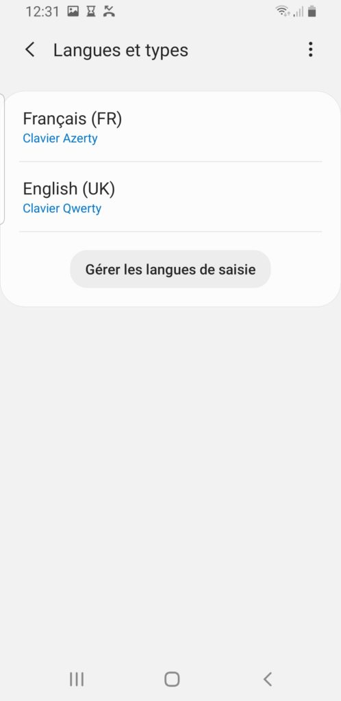 changer langue du clavier android