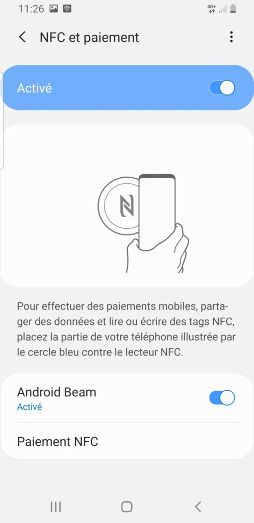 activer nfc android beam