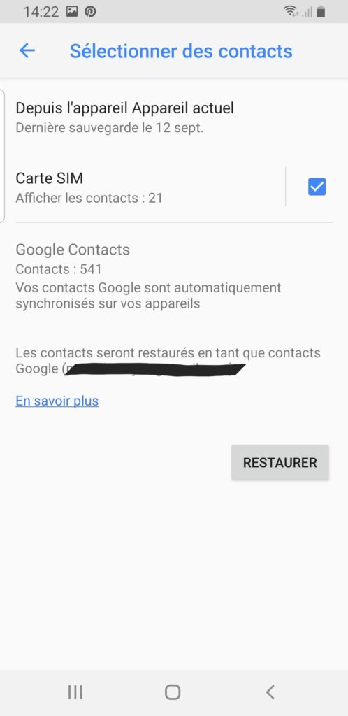 sauvergarder contact carte SIM android