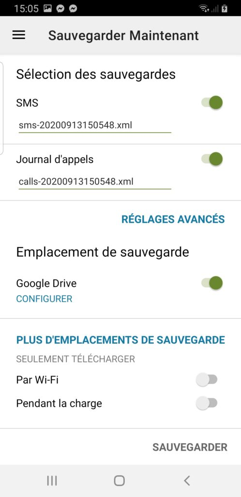 sauvegarder sms android